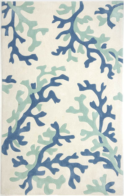 Fusion Coral Fixation Fn07 White Sea Green By Jaipur Rugs