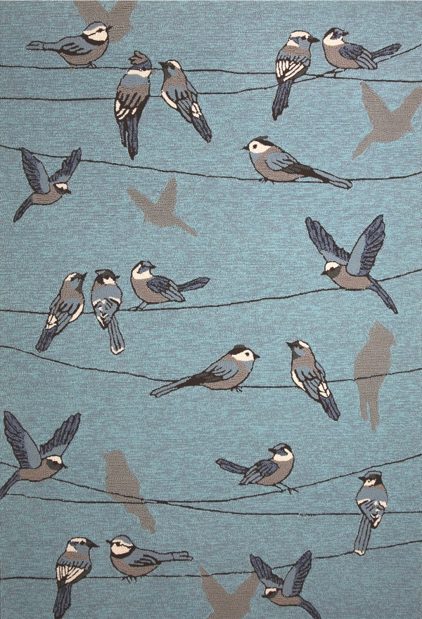 Harbor Birds On A Wire 4222 Blue by KAS Oriental Rugs